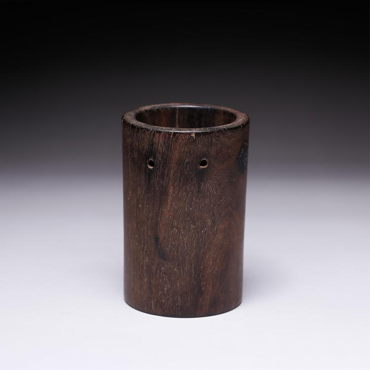 CHINESE ZITAN WOOD BRUSH POT