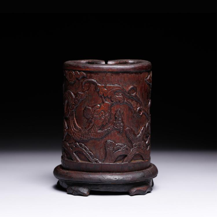 CHINESE BAMBOO CARVED DRAGON BRUSH POT