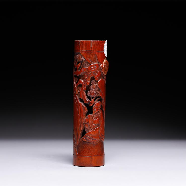 CHINESE BAMBOO CARVED INCENSE HOLDER