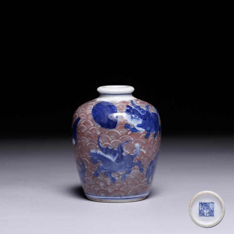 CHINESE BLUE WHITE IRON RED MINIATURE JAR