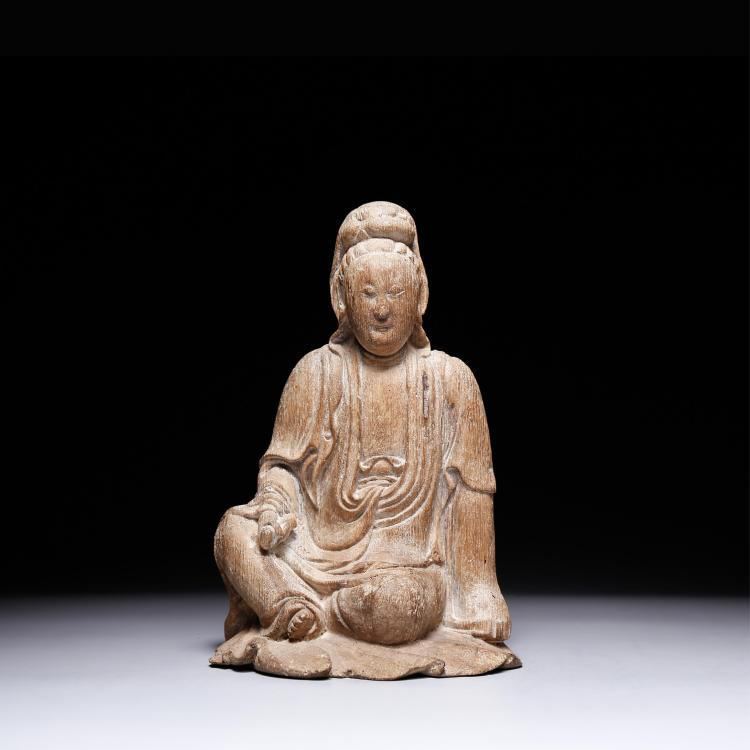 CHINESE BAMBOO CARVED FIGURE OF GUANYIN