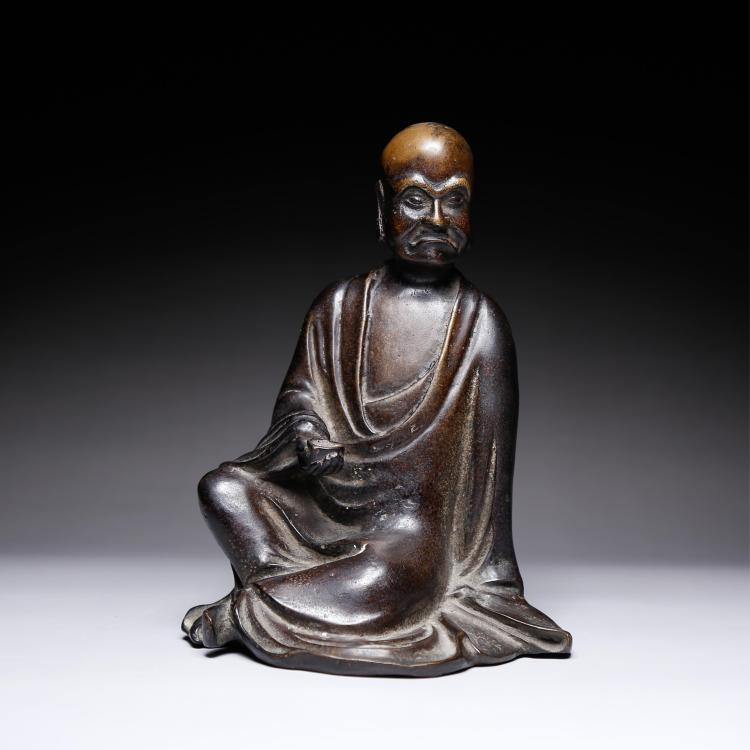 CHINESE BRONZE FIGURE OF LOHAN
