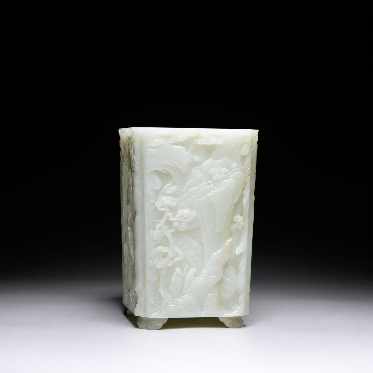 CHINESE CELADON JADE BRUSH POT