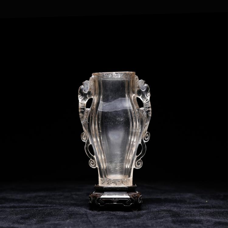 CHINESE TWIN EAR CRYSTAL VASE