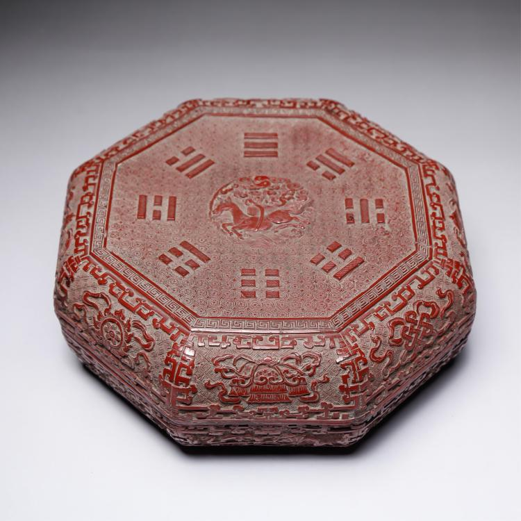 CHINESE CINNABAR LACQUER 8 TREASURE COVER BOX