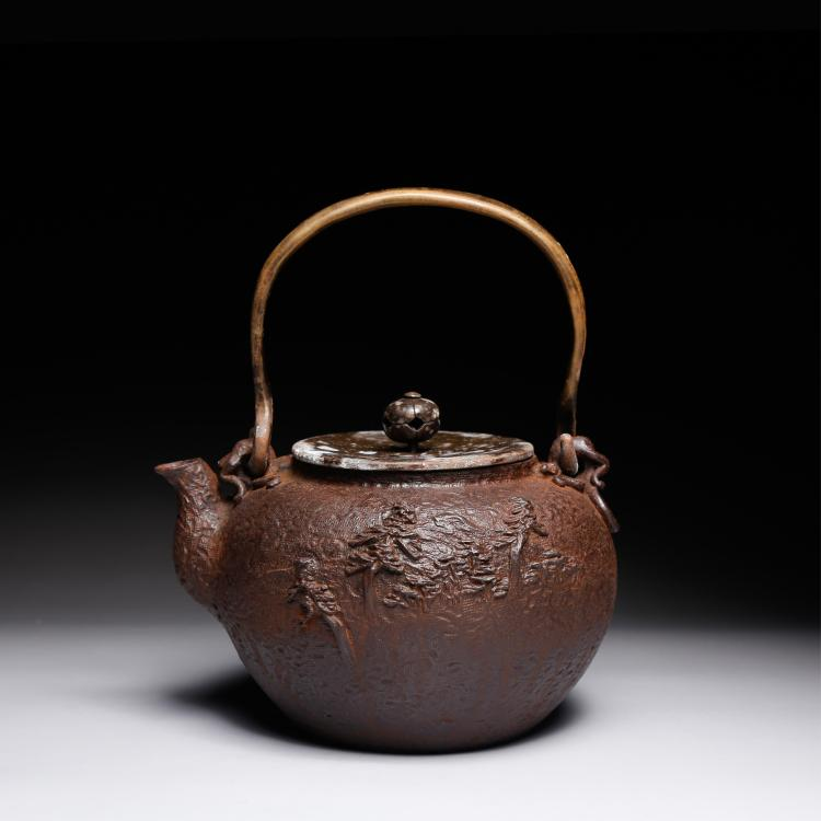 CHINESE IRON TEA POT WITH MARK