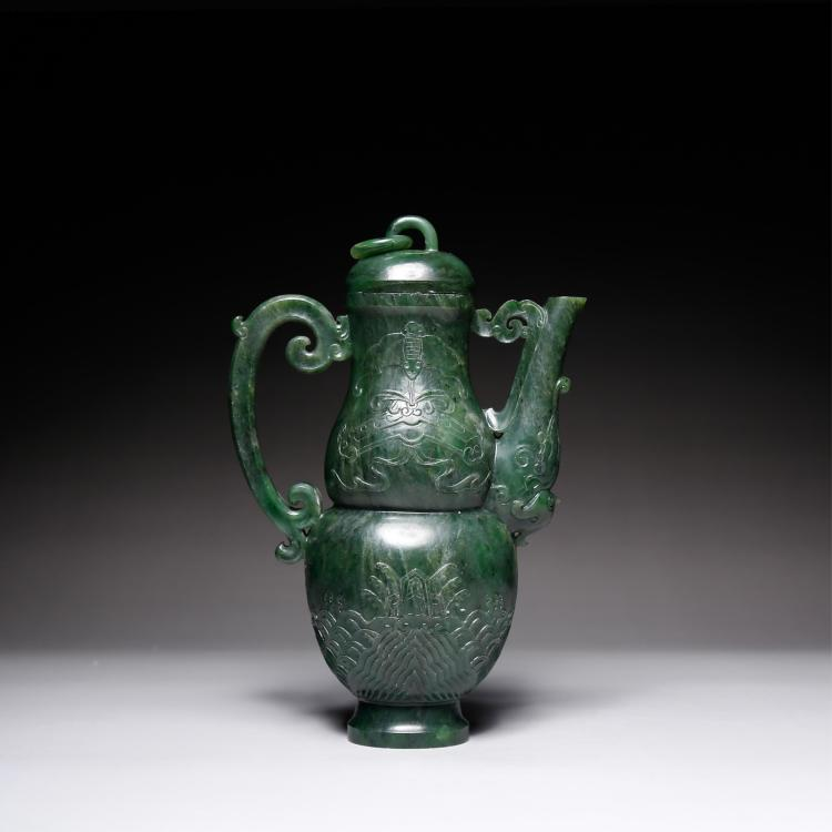 CHINESE SPINACH JADE WINE EWER