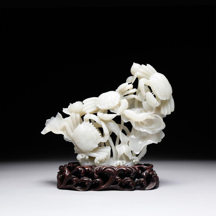 CHINESE WHITE JADE CARVED LOTUS FLOWER GROUP