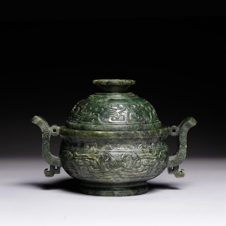 CHINESE SPINACH JADE COVER TWIN EAR CENSER