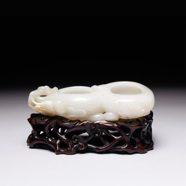 CHINESE WHITE JADE BRUSH WASHER DOUBLE GOURD SHAPE