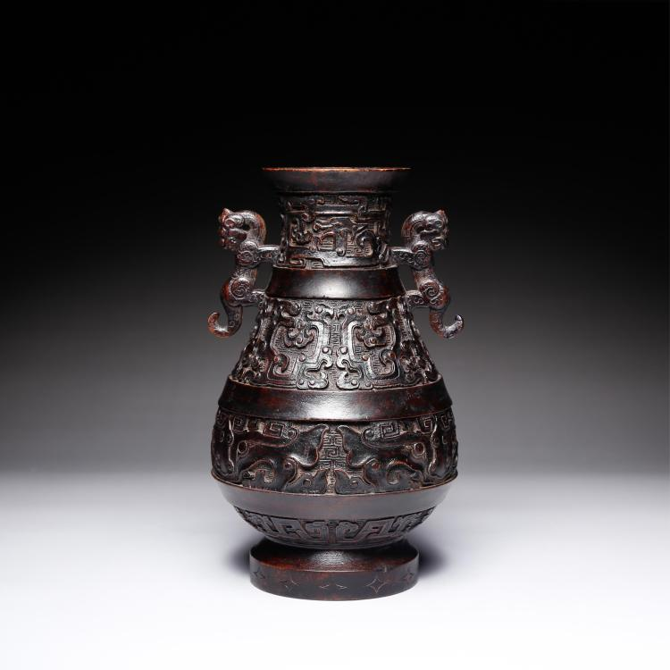 CHINESE CHENXIANG WOOD CARVED TWIN EAR ZUN VASE