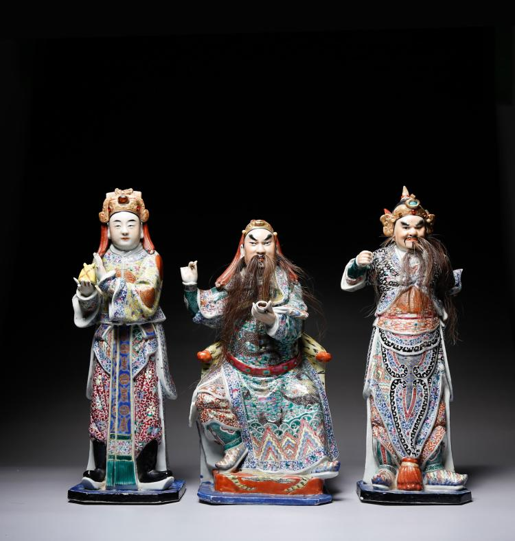 3 CHINESE FAMILLE ROSE PORCELAIN FIGURES