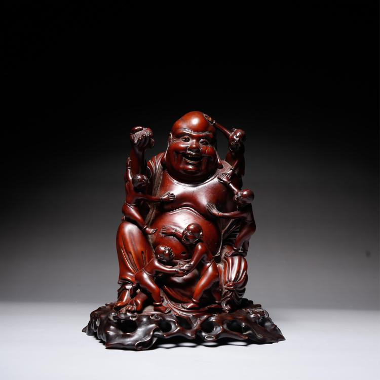 CHINESE ROSEWOOD FIGURE OF SEATED LOHAN