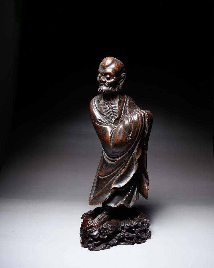 CHINESE ROSEWOOD FIGURE OF LOHAN