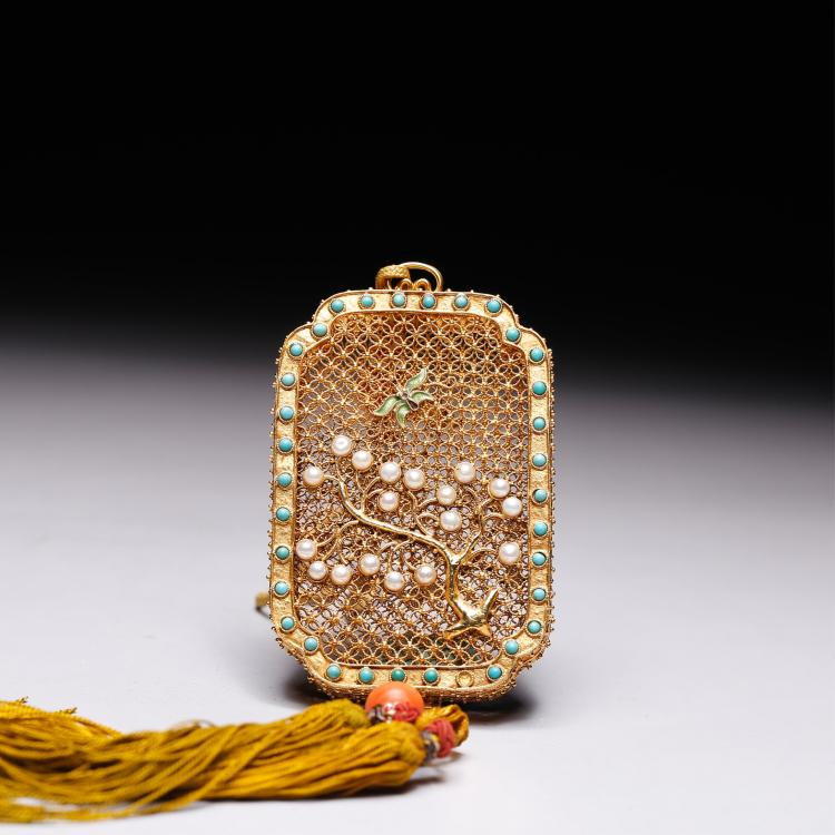 CHINESE GOLD WIRE WITH PEARLS PERFUMER