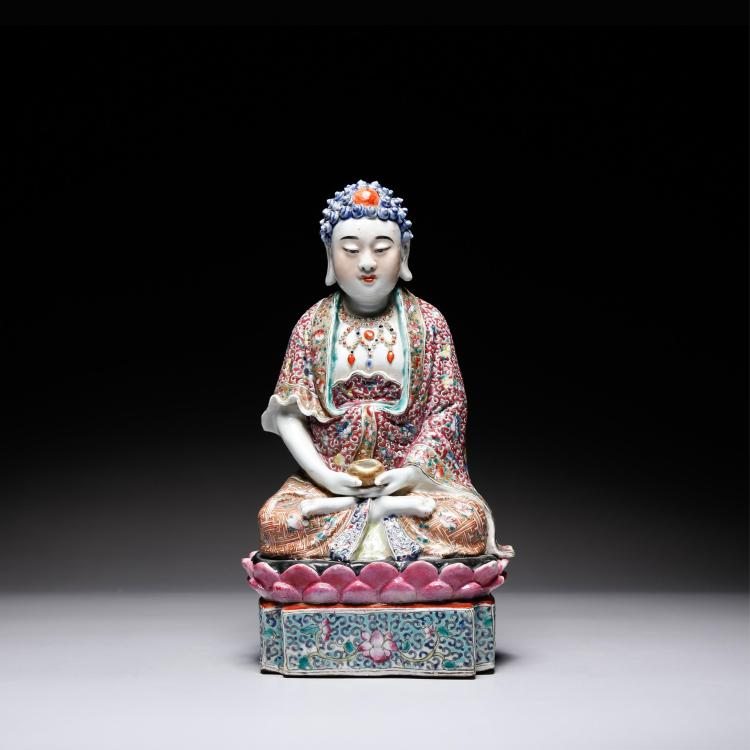 CHINESE FAMILLE ROSE FIGURE OF BUDDHA