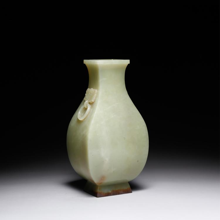 CHINESE YELLOW JADE TWIN EAR VASE