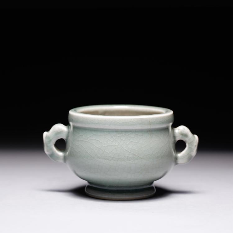CHINESE CELADON GLAZED TWIN EAR CENSER