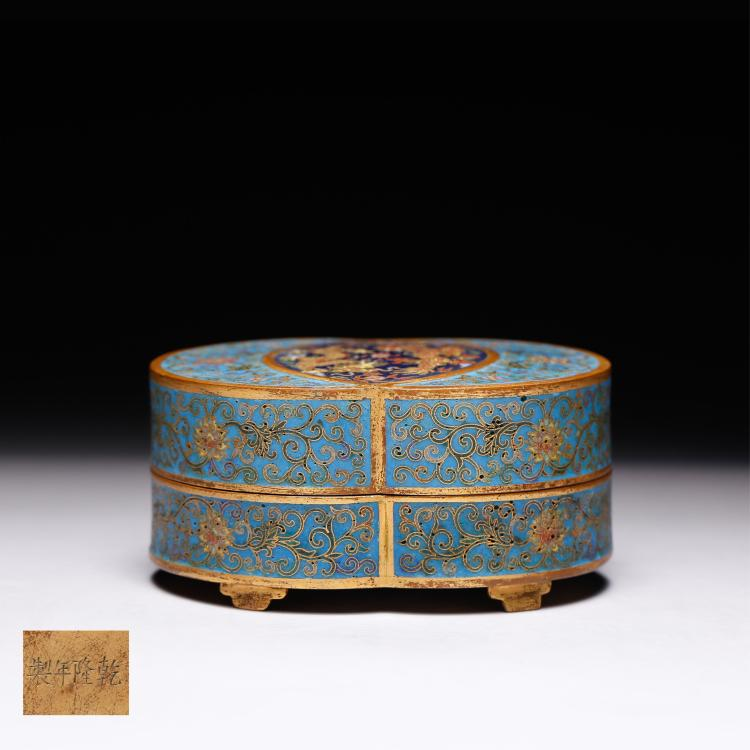 CHINESE CLOISONNE COVER BOX WITH MARK
