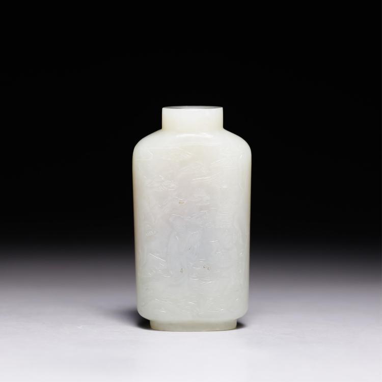 CHINESE WHITE JADE SNUFF BOTTLE W/ ZIGANG MARK