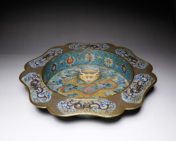 CHINESE CLOISONNE DRAGON BASIN WITH MARK