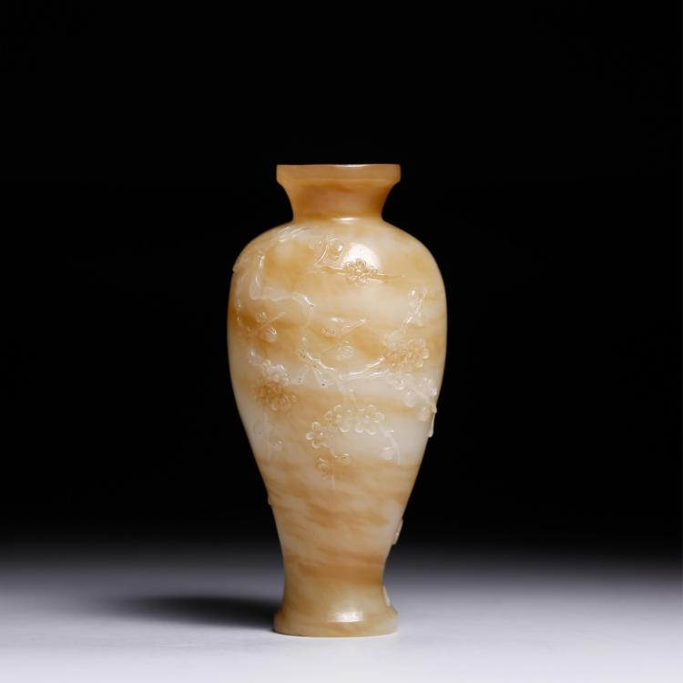 CHINESE JADE STONE CARVED MEIPING VASE