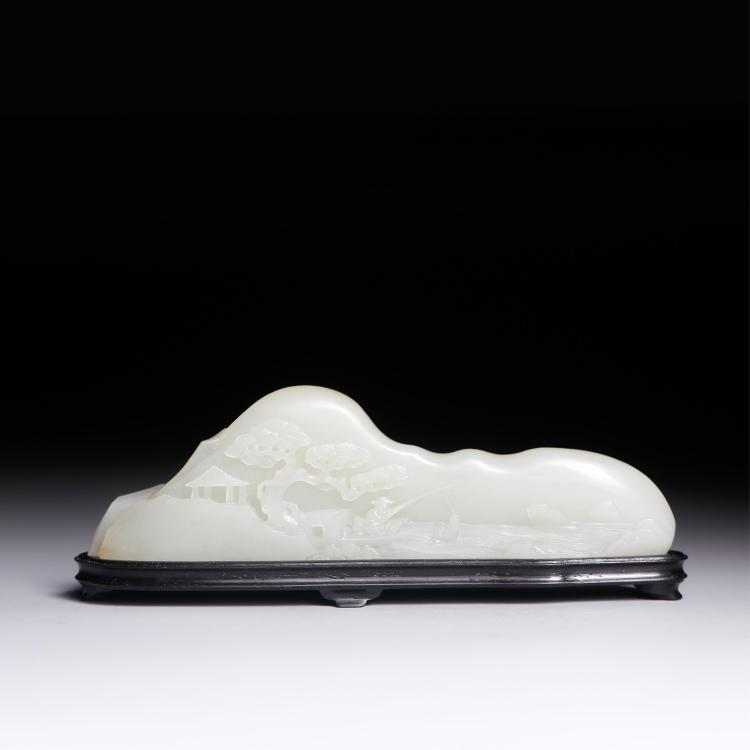 CHINESE WHITE JADE BRUSH REST MOUNTAIN SCENE