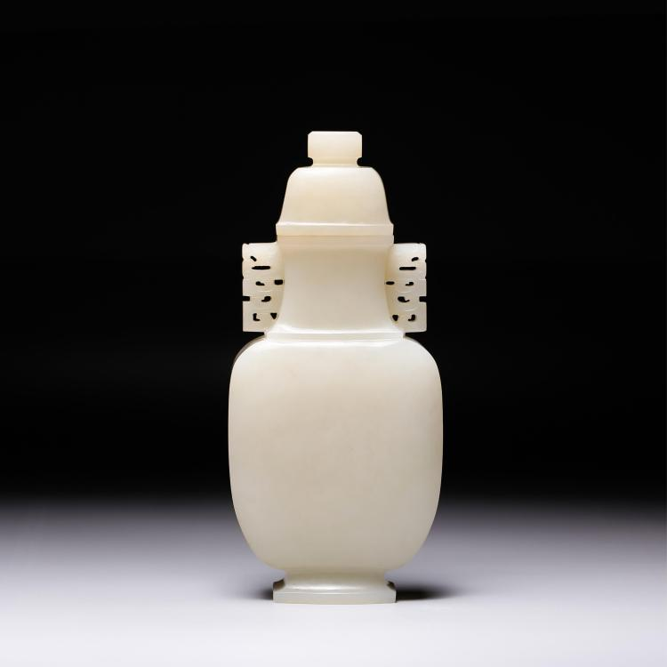 CHINESE WHITE JADE CARVED COVER VASE