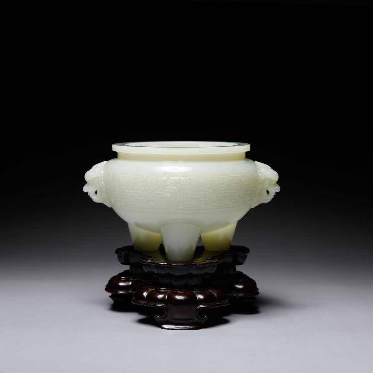 CHINESE WHITE JADE CARVED FOOLION TRIPOD CENSER