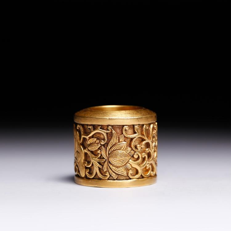 CHINESE GOLD FOLIAGE THUMB RING