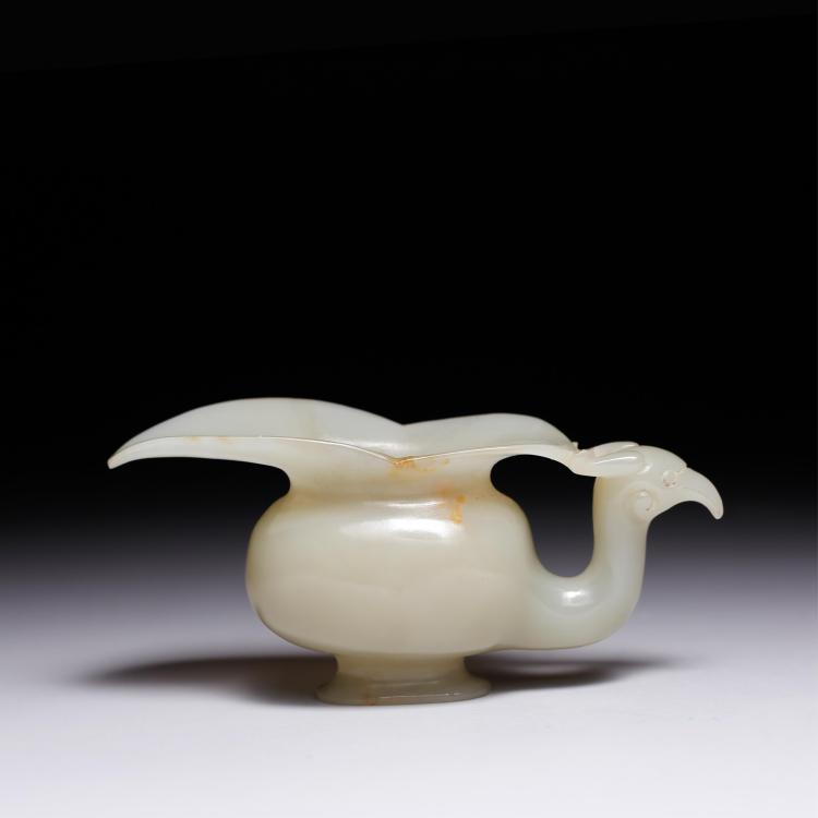 CHINESE JADE CUP IN THE SHAPE OF A BIRD