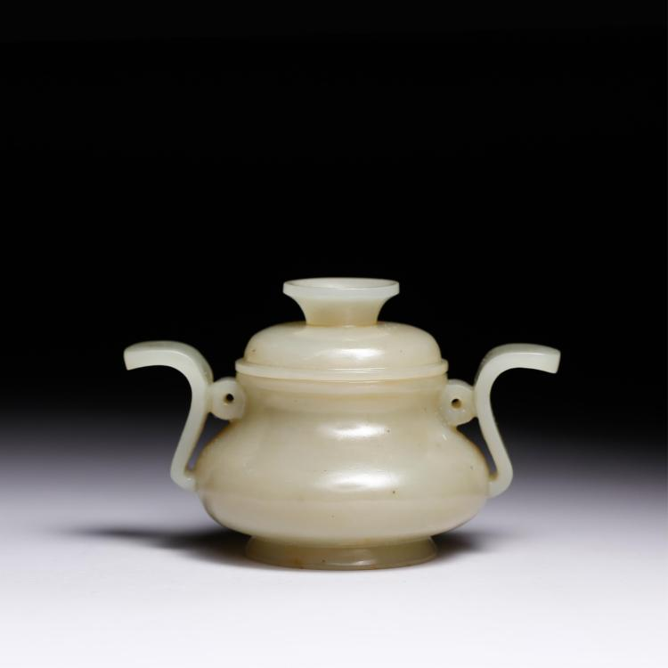 CHINESE CELADON JADE COVER CENSER