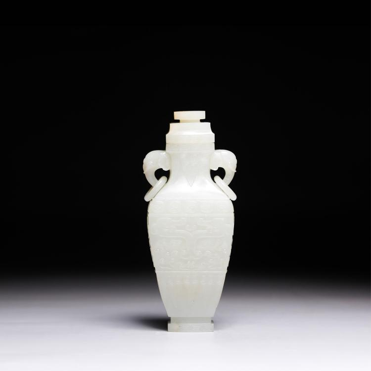 CHINESE WHITE JADE TWIN ELEPHANT EAR COVER VASE