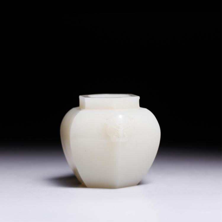 CHINESE WHITE JADE FOOLION MASK WATER COUPE