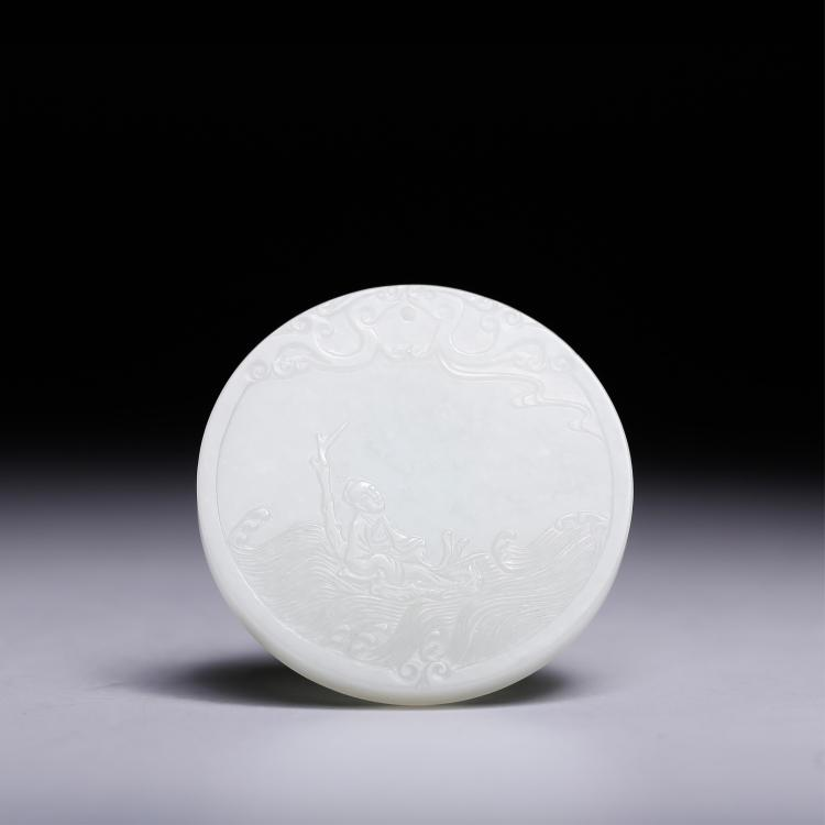 CHINESE WHITE JADE PENDANT CARVED LADY AND POEM