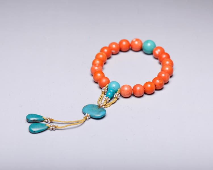 CHINESE CORAL PRAYER BEADS BRACELET