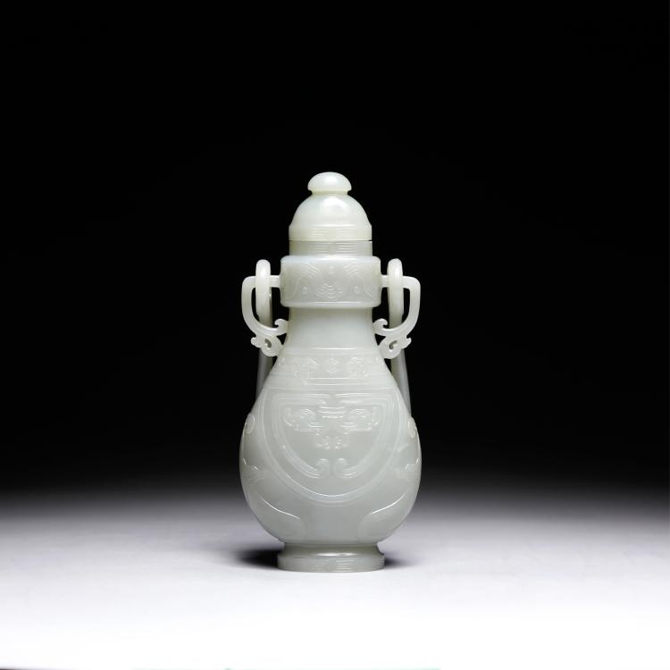 CHINESE PALE CELADON JADE COVER VASE