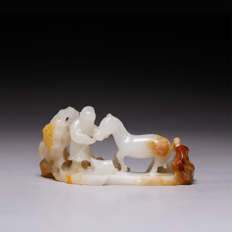 CHINESE WHITE JADE MAN AND HORSE GROUP