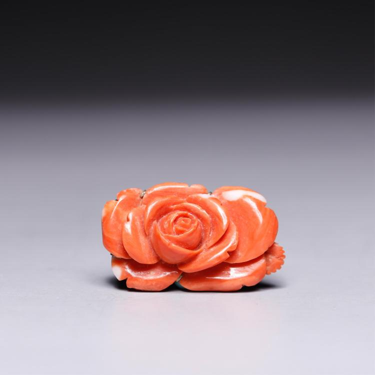 CHINESE CORAL FLOWER BROOCH
