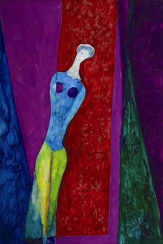 Maximilian Feuerring (1896-1985) Figure acrylic on board