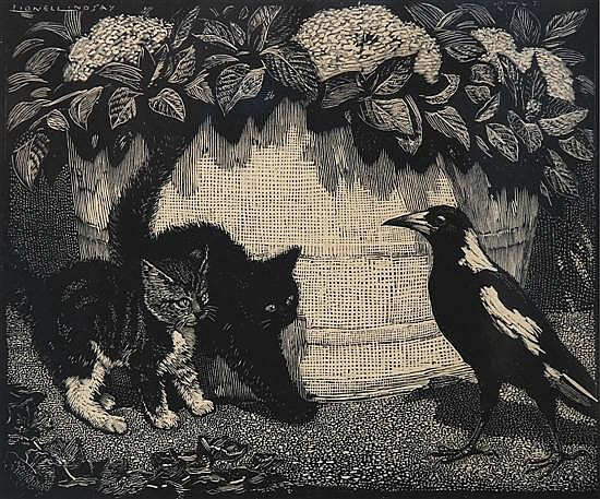 Lionel Lindsay (1874-1961) The Demon 1925 wood engraving 2/100