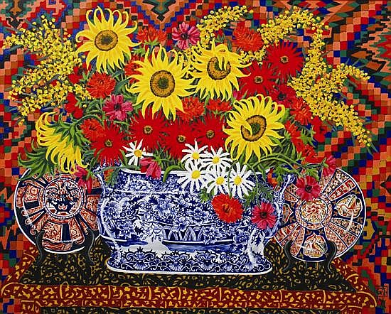 Greg Irvine (born 1947) Flowers in Victorian Foot Bath oil on canvas