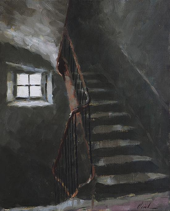 Hayward Veal (1913-1968) The Staircase oil on hessian