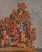 Carl Rotky (Austrian, 1891-1977) Autumn Leaves coloured linocut, Carl Rotky, Click for value