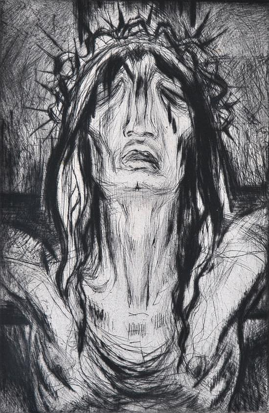 Paul Pierre Lemagny (French, 1905-1977) Christ 1950 drypoint etching