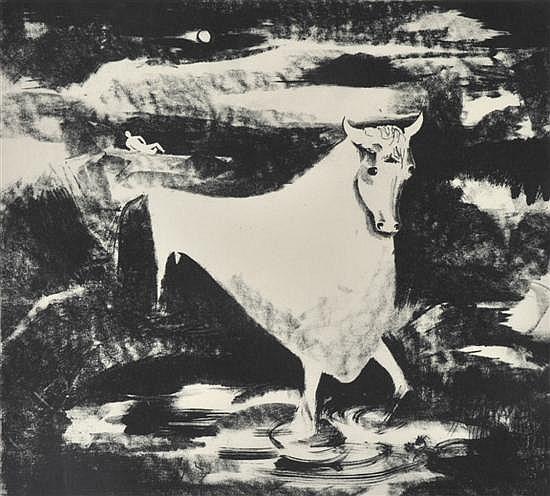 Tate Adams (born 1922) Europa & Bull c. 1960 lithograph 1/2