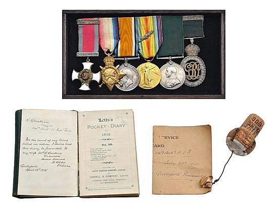THE HIGHLY IMPORTANT GALLIPOLI D.S.O. GROUP OF SIX AND DIARY OF LIEUTENANT COLONEL ROBERT RANKINE 14 BN. A.I.F.