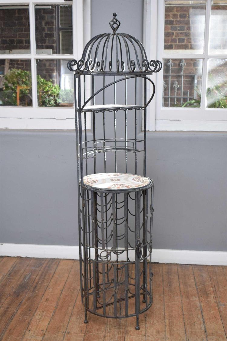 a wrought iron outdoor plant stand. Black Bedroom Furniture Sets. Home Design Ideas