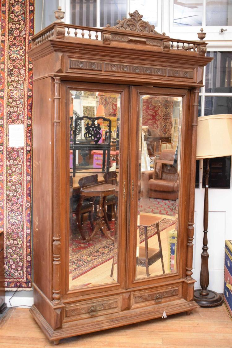 a henry ii walnut two door mirrored armoire some surface f. Black Bedroom Furniture Sets. Home Design Ideas