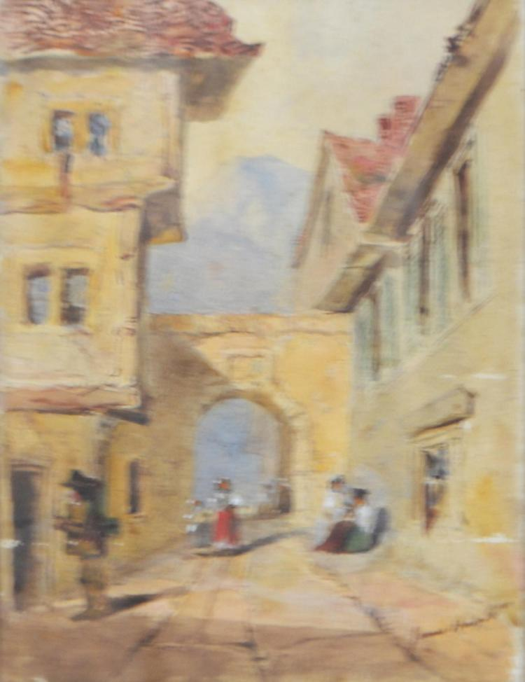SIGNED ILLEGIBLY (POSSIBLY JAMES H) EUROPEAN VILLAGE SCENE,